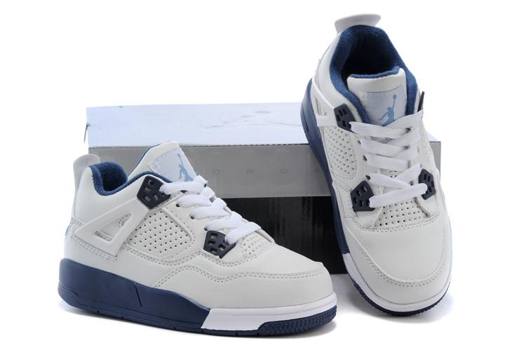 best service 35215 acee1 Kids Air Jordan 4 Columbia White Blue Shoes