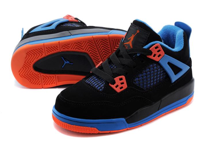 promo code 8ee07 b7c84 Kids Air Jordan 4 Retro 2014 Black Blue Orange Shoes