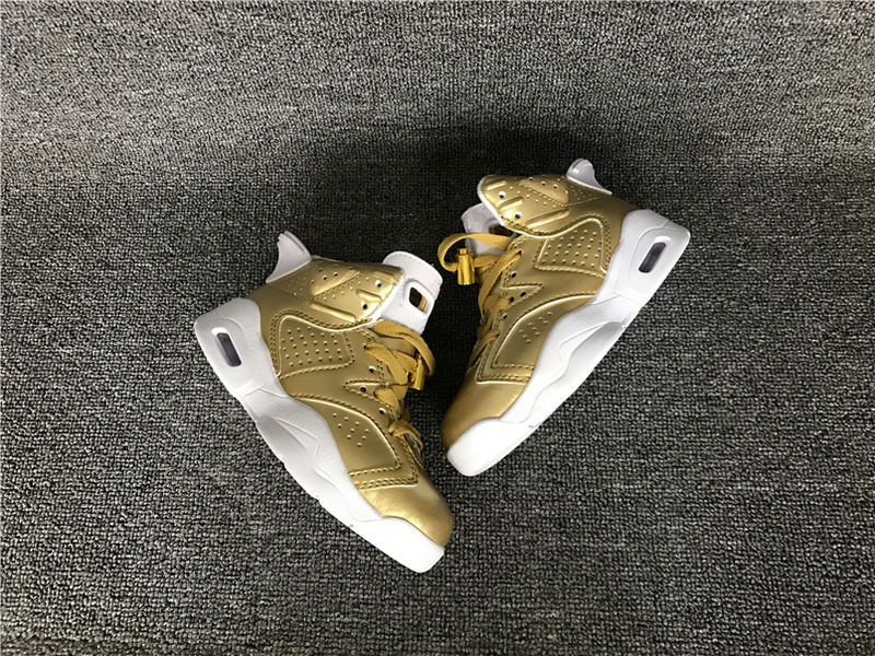 Kids Air Jordan 6 Gold White Shoes