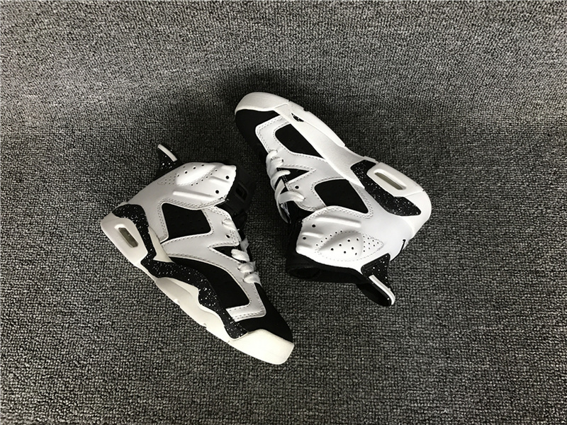 Kids Air Jordan 6 White Black Shoes