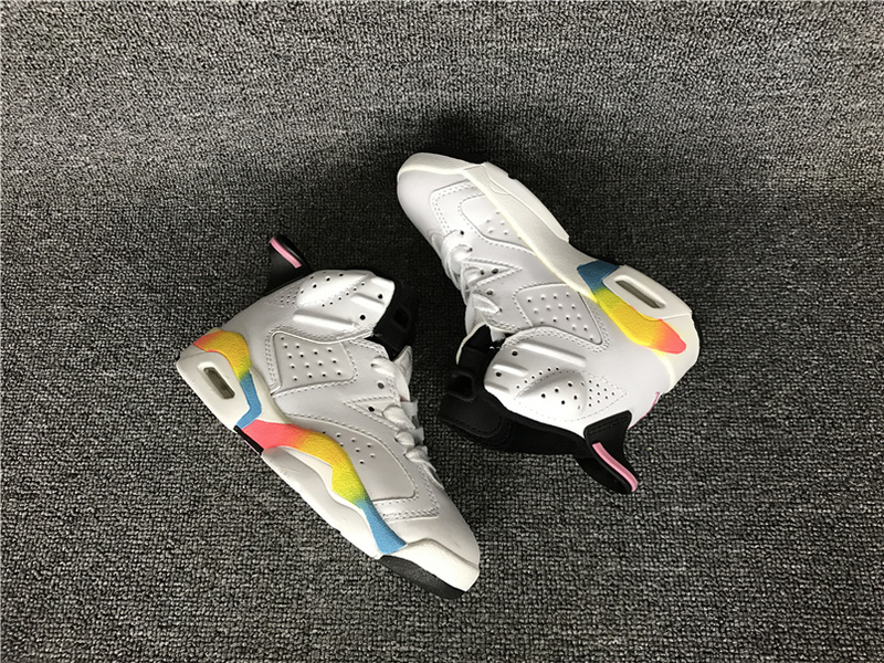 Kids Air Jordan 6 White Colorful Shoes
