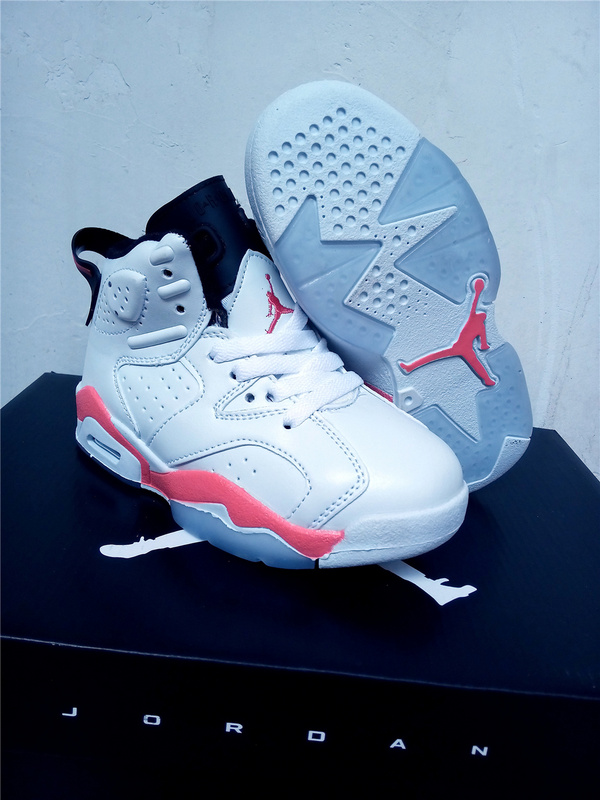 Kids Air Jordan 6 White Pink Black Shoes