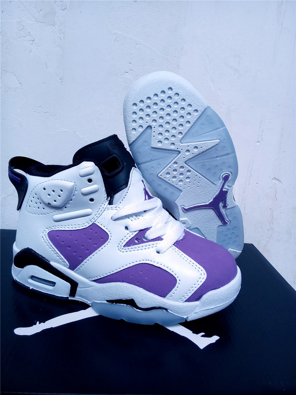 Kids Air Jordan 6 White Purple Black Shoes