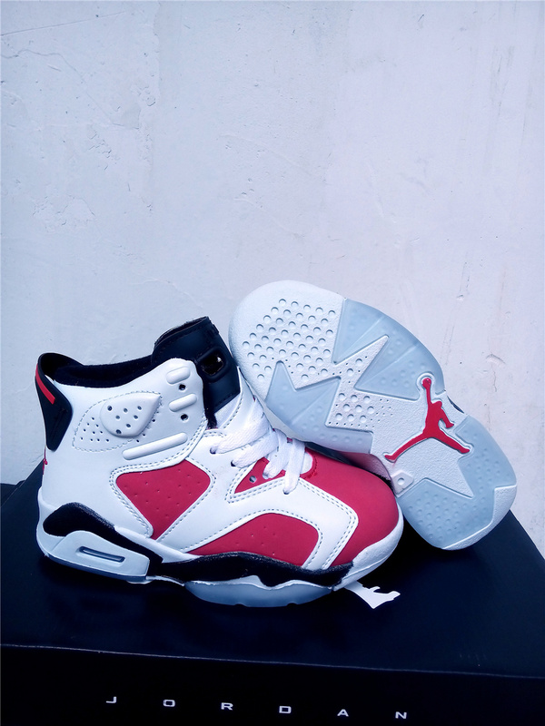 Kids Air Jordan 6 White Red Black Shoes
