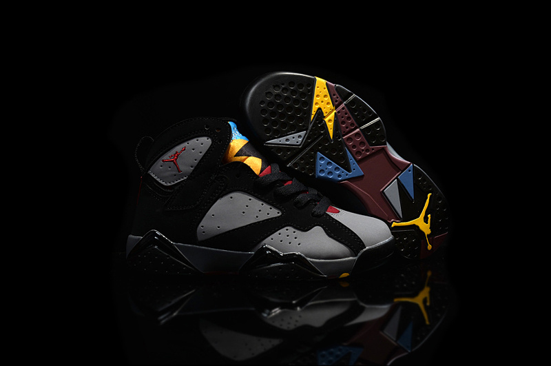 Kids Air Jordan 7 Black Grey Yellow Shoes