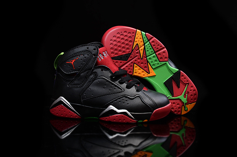 6137eddb8311f Kids Air Jordan 7 Black Red Shoes