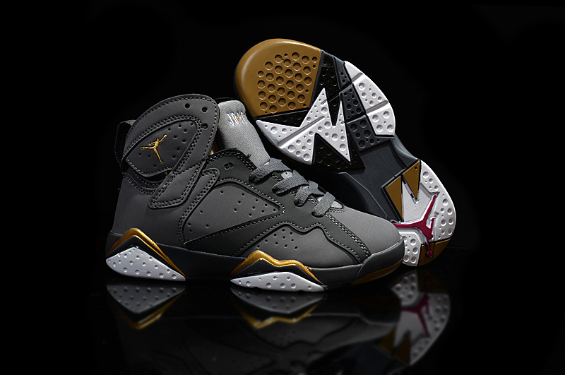 Kids Air Jordan 7 Grey Gold Shoes