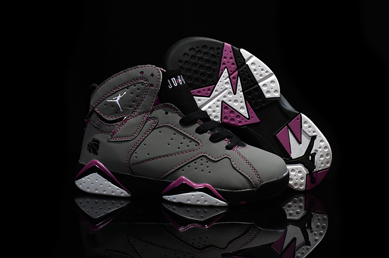 Kids Air Jordan 7 Grey Purple Black Shoes