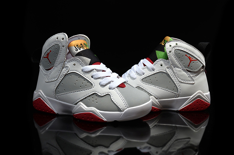 Kids Air Jordan 7 White Grey Red Shoes