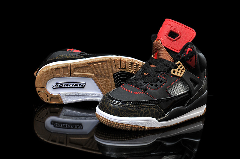Kids Air Jordan Spizike Black Brown Red Shoes