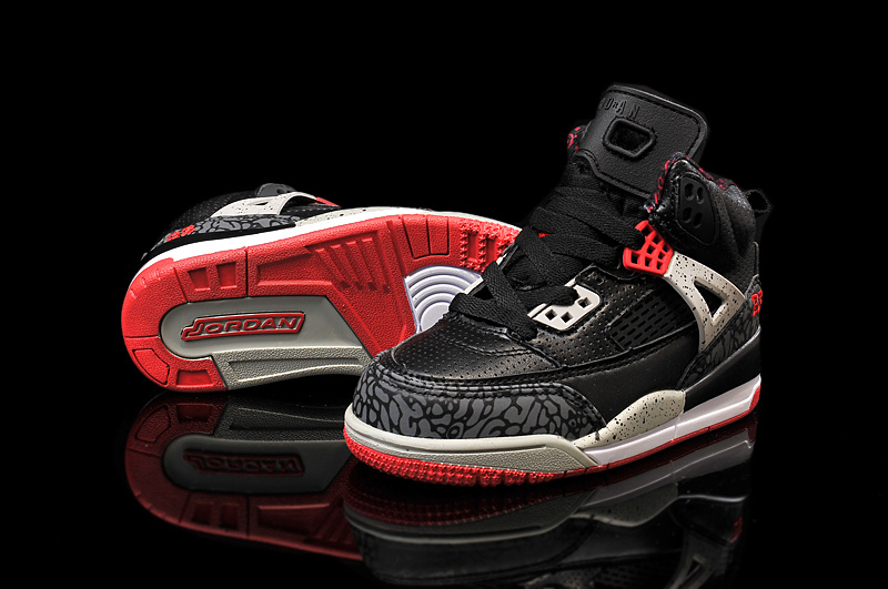 Kids Air Jordan Spizike Black Grey Red Shoes