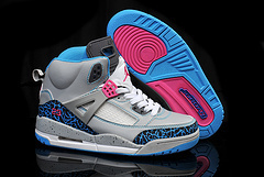 Kids Air Jordan Spizike Grey Cement Blue Pink White Shoes