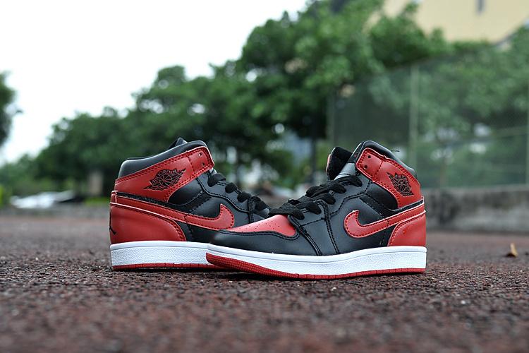 newest 95c08 c91f6 Kids Jordan 1 Retro Black Red White Shoes [WOMEN2518 ...