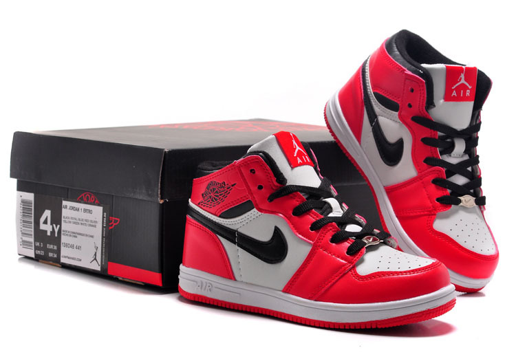 9a9dc5fc66add7 Kids Jordan 1 Retro Red White Black Shoes