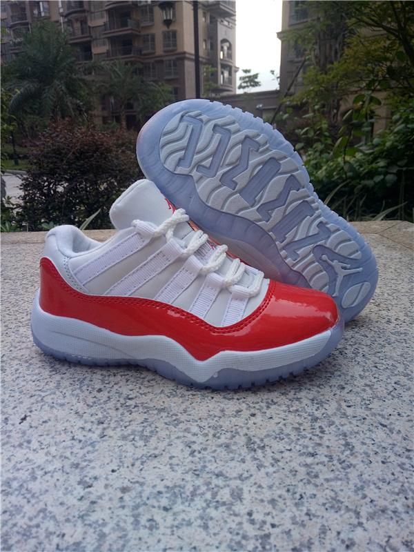 the best attitude 4bb59 81dde Kids Jordan 11 Low White Red Shoes