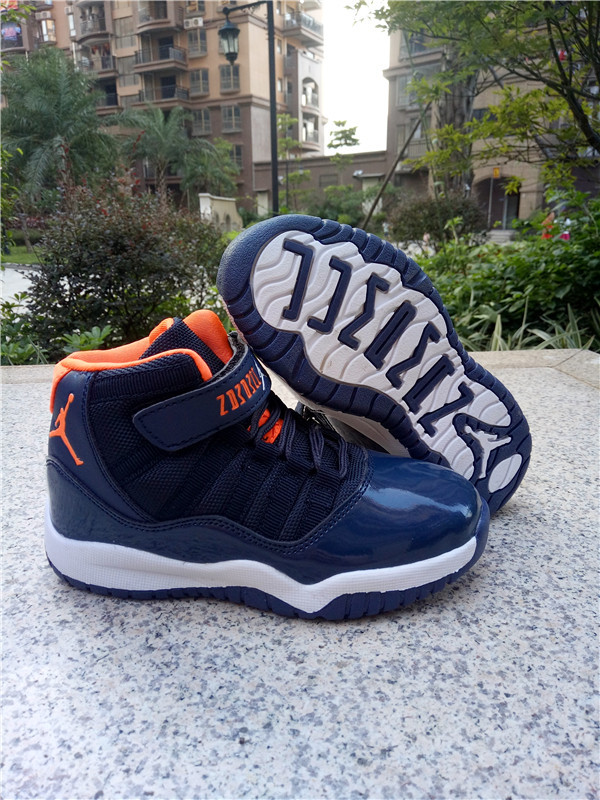 18b6041c8ad2 Kids Jordan 11 Magic Strap Sea Blue Orange White Shoes