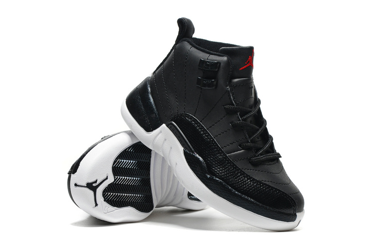 Kids Jordan 12 Black White Shoes