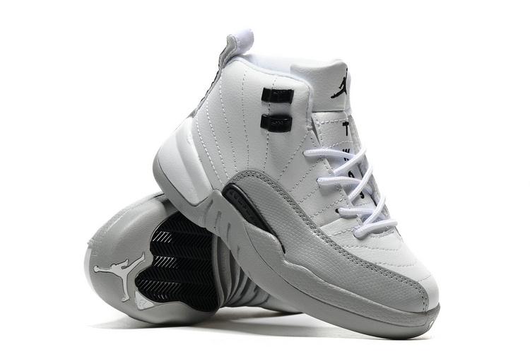 3fa5b7cbfd81 Kids Jordan 12 White Grey Black Shoes  WOMEN1371  -  84.50   Women ...