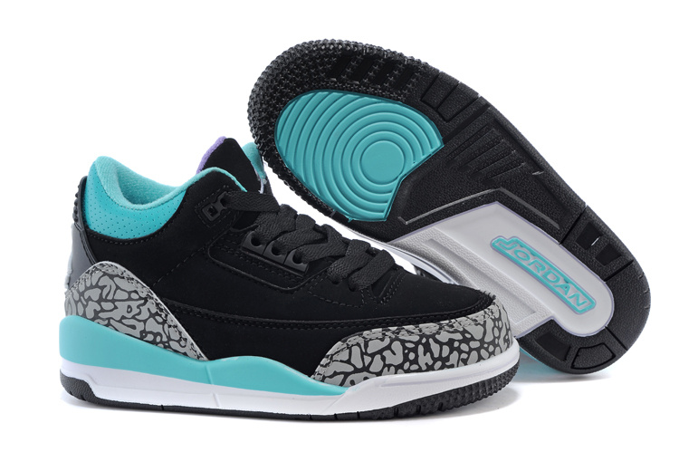 Kids Jordan 3 Cement Black Blue Shoes
