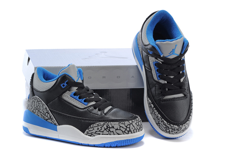 Kids Jordan 3 Cement Black Royal Blue Shoes