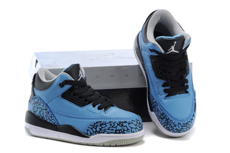 Kids Jordan 3 Cement Blue Black Shoes