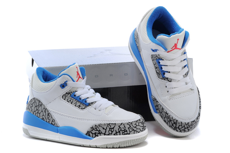 Kids Jordan 3 Cement White Blue Shoes