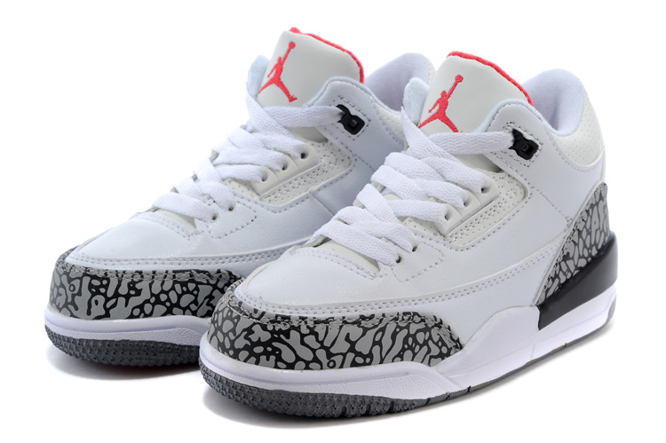 Kids Jordan 3 Cement White Red Shoes