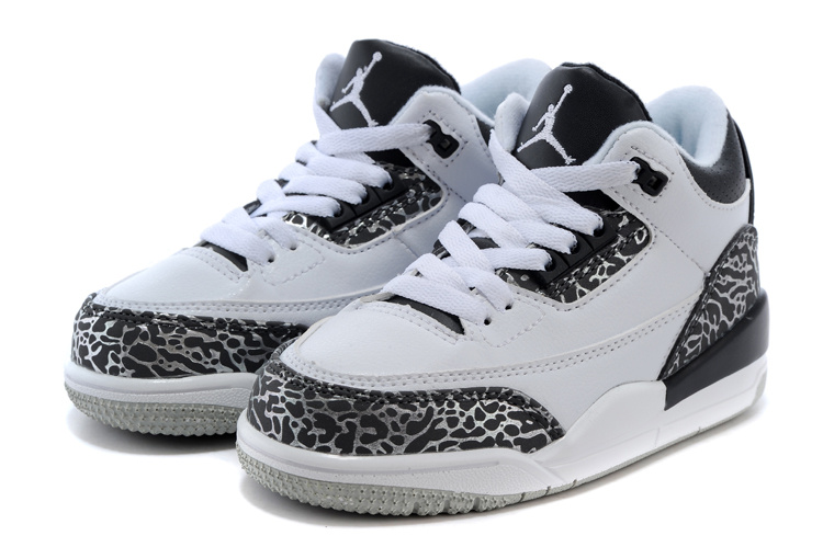 Kids Jordan 3 White Wolf Grey Shoes