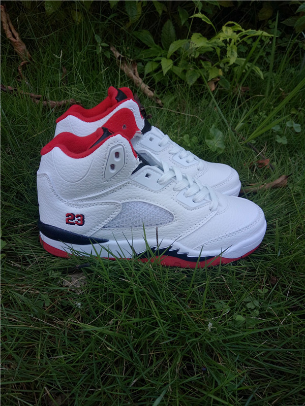 9e6cdd36e59 Kids Jordan 5 Retro Red White Black Shoes