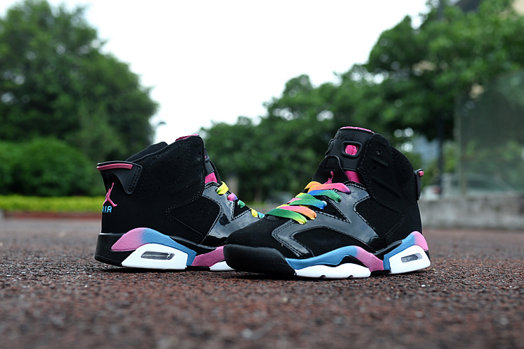 Kids Jordan 6 Retro Black Colorful Shoes