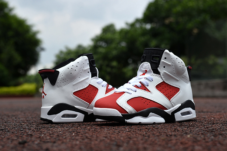 Kids Jordan 6 Retro Red White Black Shoes