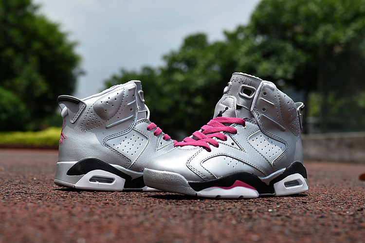 Kids Jordan 6 Retro Silver Black Pink Shoes