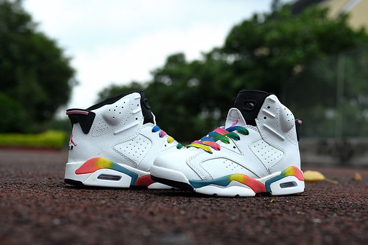 Kids Jordan 6 Retro White Colorful Shoes