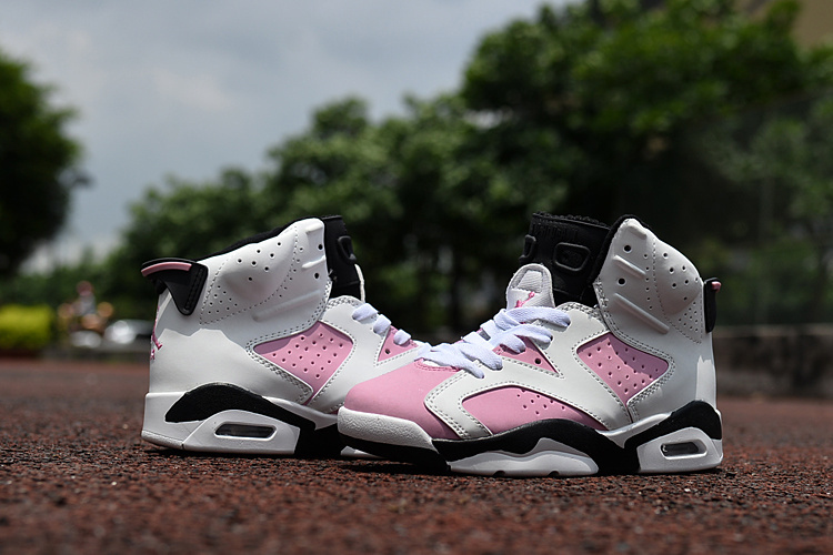 Kids Jordan 6 Retro White Pink Black Shoes