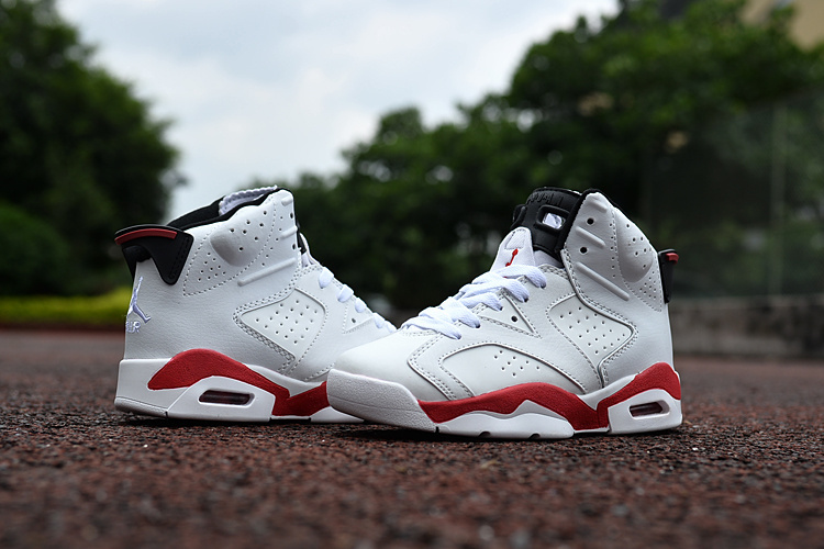 Kids Jordan 6 Retro White Red Shoes