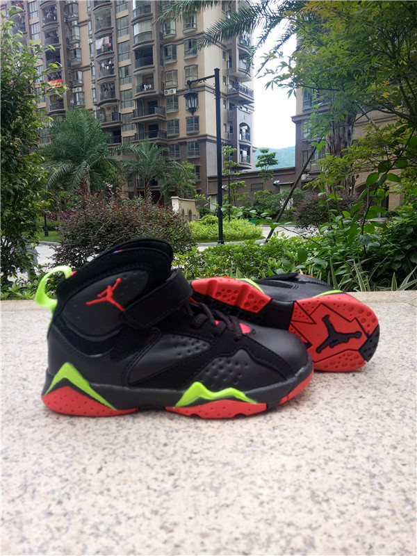 Kids Jordan 7 Black Red Green Shoes