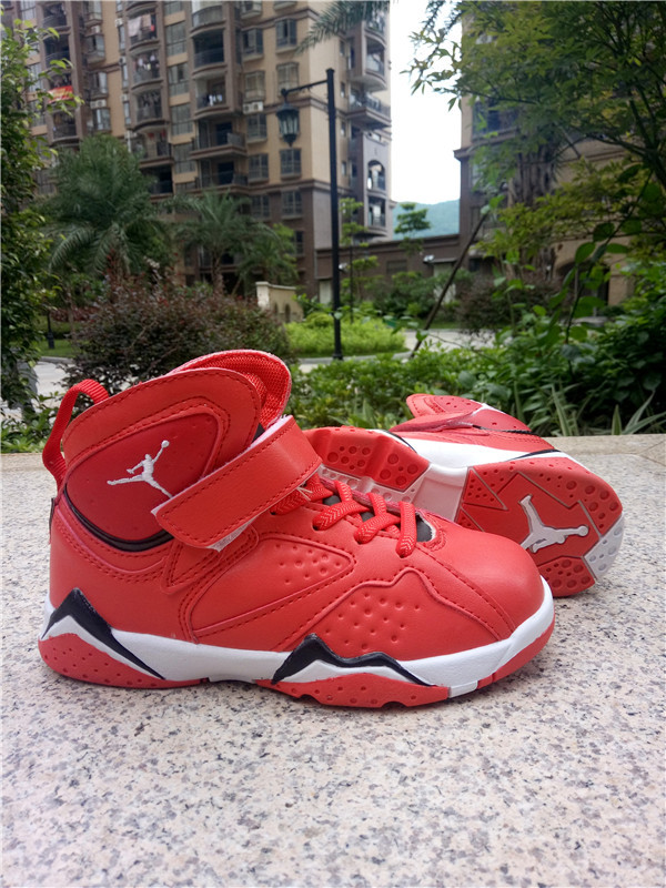 Kids Jordan 7 Red White Gold Shoes