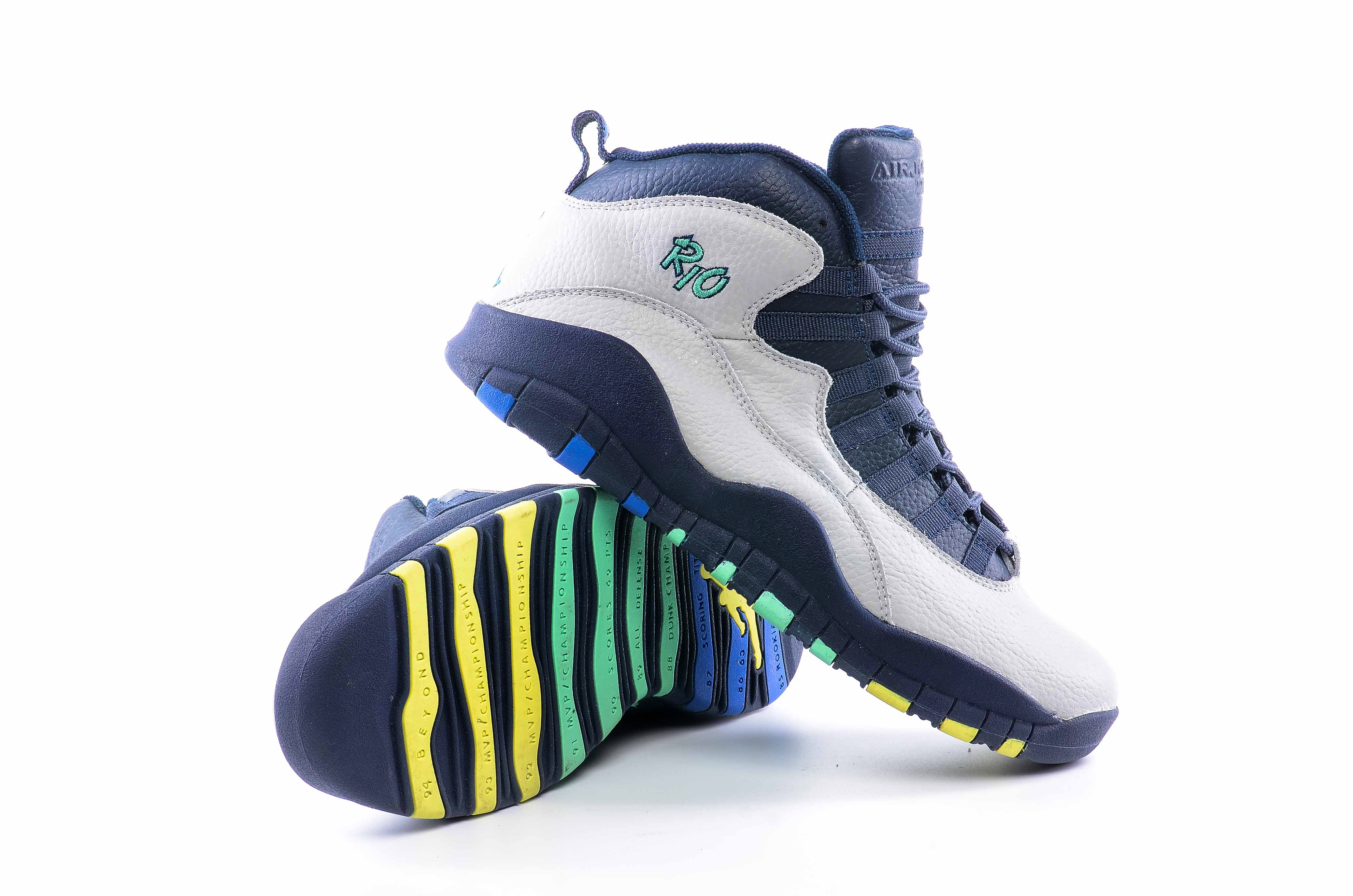 Latest Men Air Jordan 10 White Blue Yellow Shoes