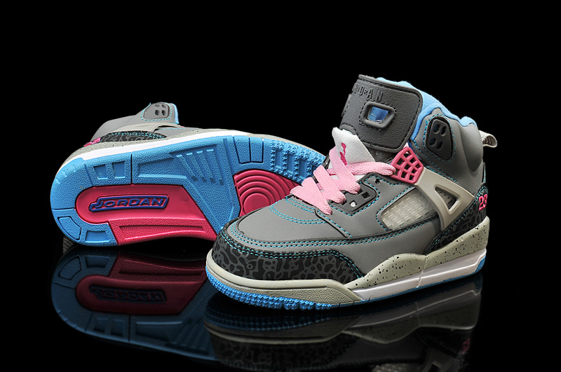 Latest Kids Air Jordan Spizike Grey Black Pink Blue Shoes