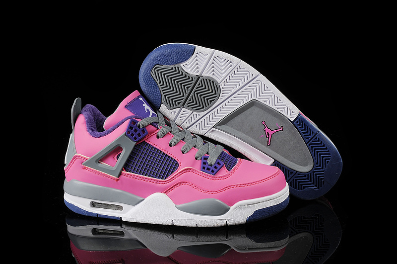 1cd80e264f1 Latest Latest Womens Air Jordan 4 Retro Pink Purple Grey Shoes On Sale