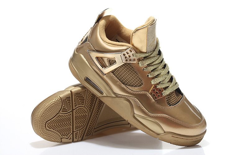 Limited Air Jordan 4 Retro All Gold Shoes