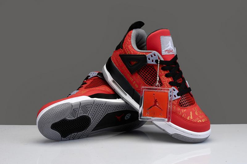newest 45e4e b697b Limited Womens Air Jordan 4 Chicago Bulls Red Black Shoes
