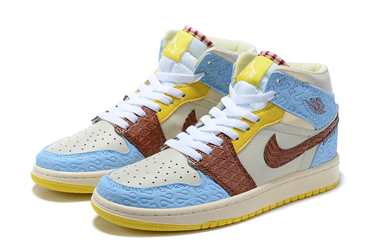 Men Air Jordan 1 Mid White Baby Blue Yellow Brown Shoes