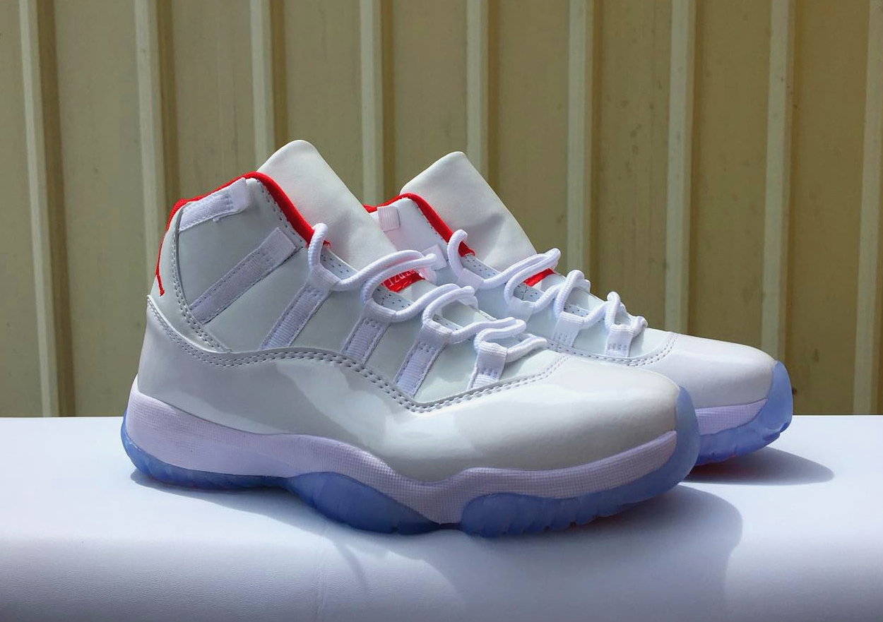 Women Air Jordan 11 Retro White Red Blue Sole Shoes