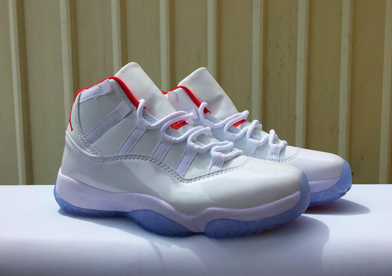 the best attitude 09cda bf5e9 Women Air Jordan 11 Retro White Red Blue Sole Shoes ...