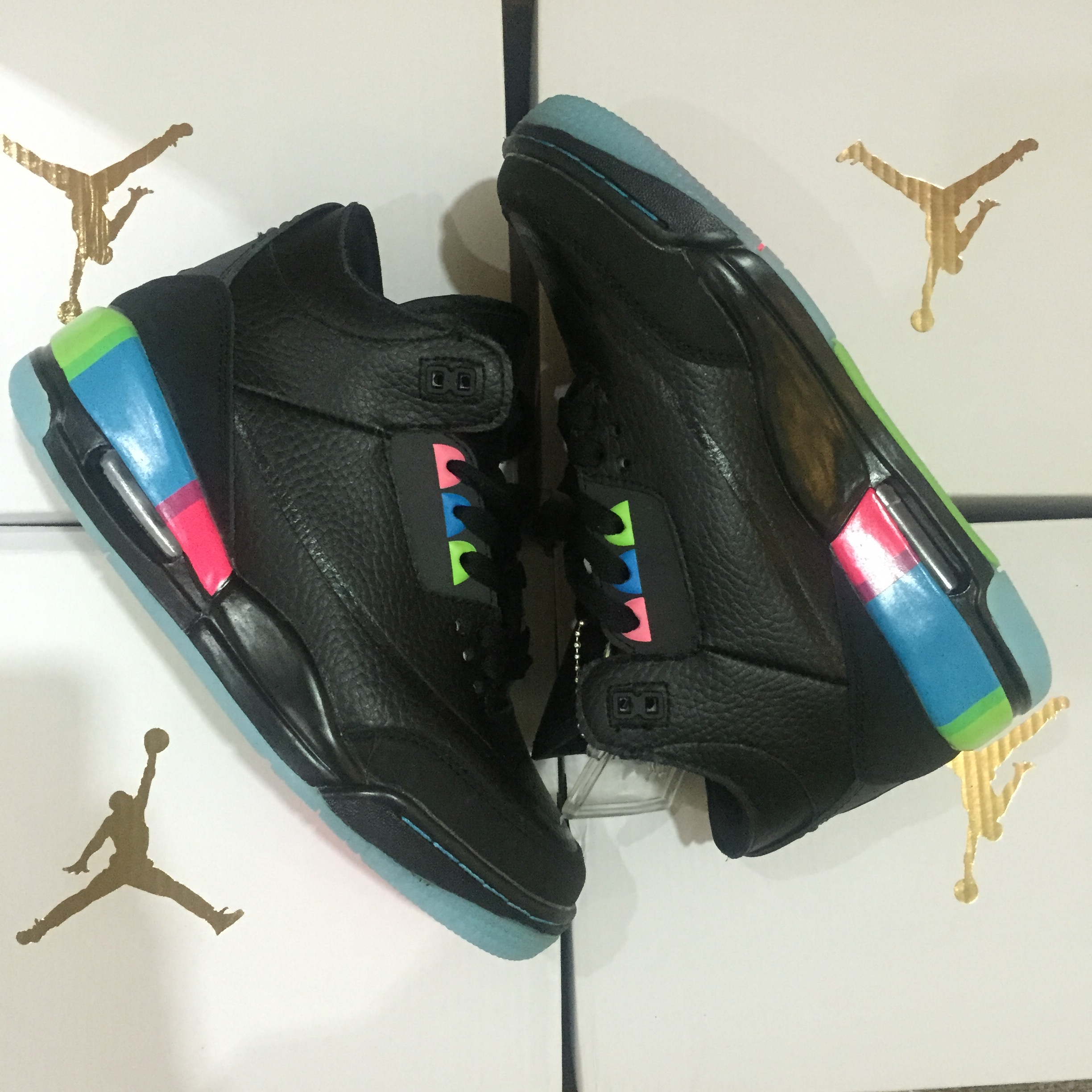 Women Air Jordan 3 Retro Black Rainbow Shoes