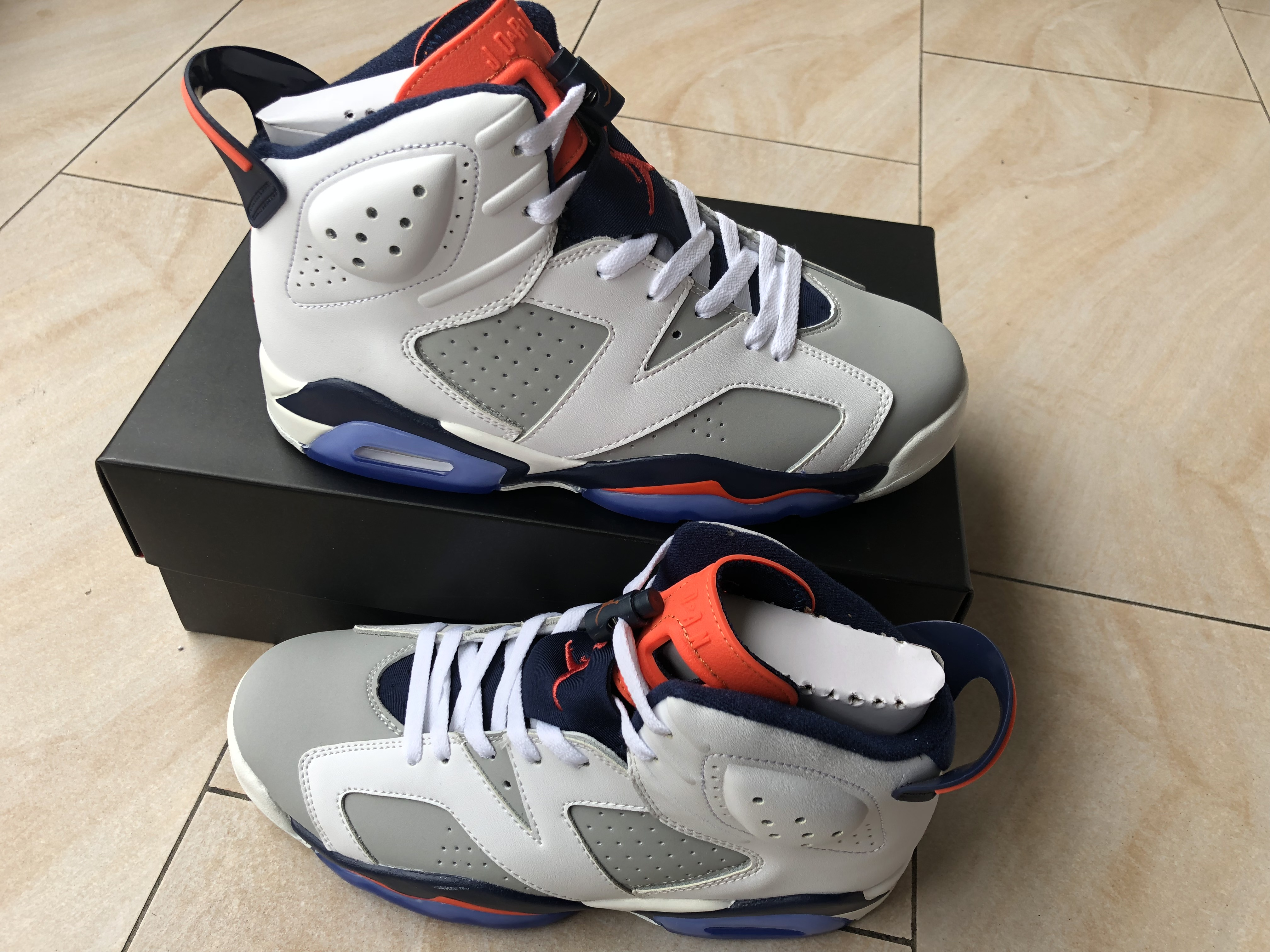 Women Air Jordan 6 Retro Handy Grey White Orange Blue Shoes