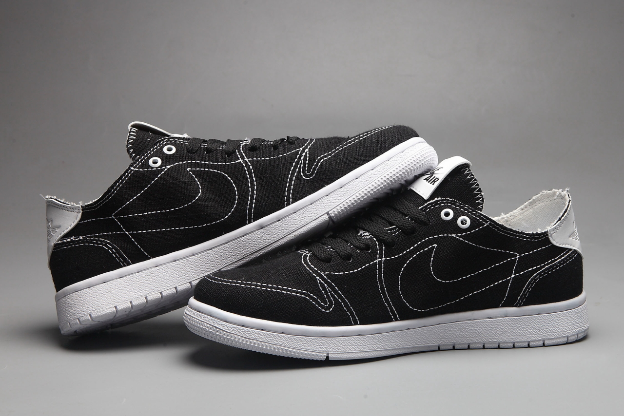 Women Nike Air Jordan 1 Low Canvas Black White Shoes