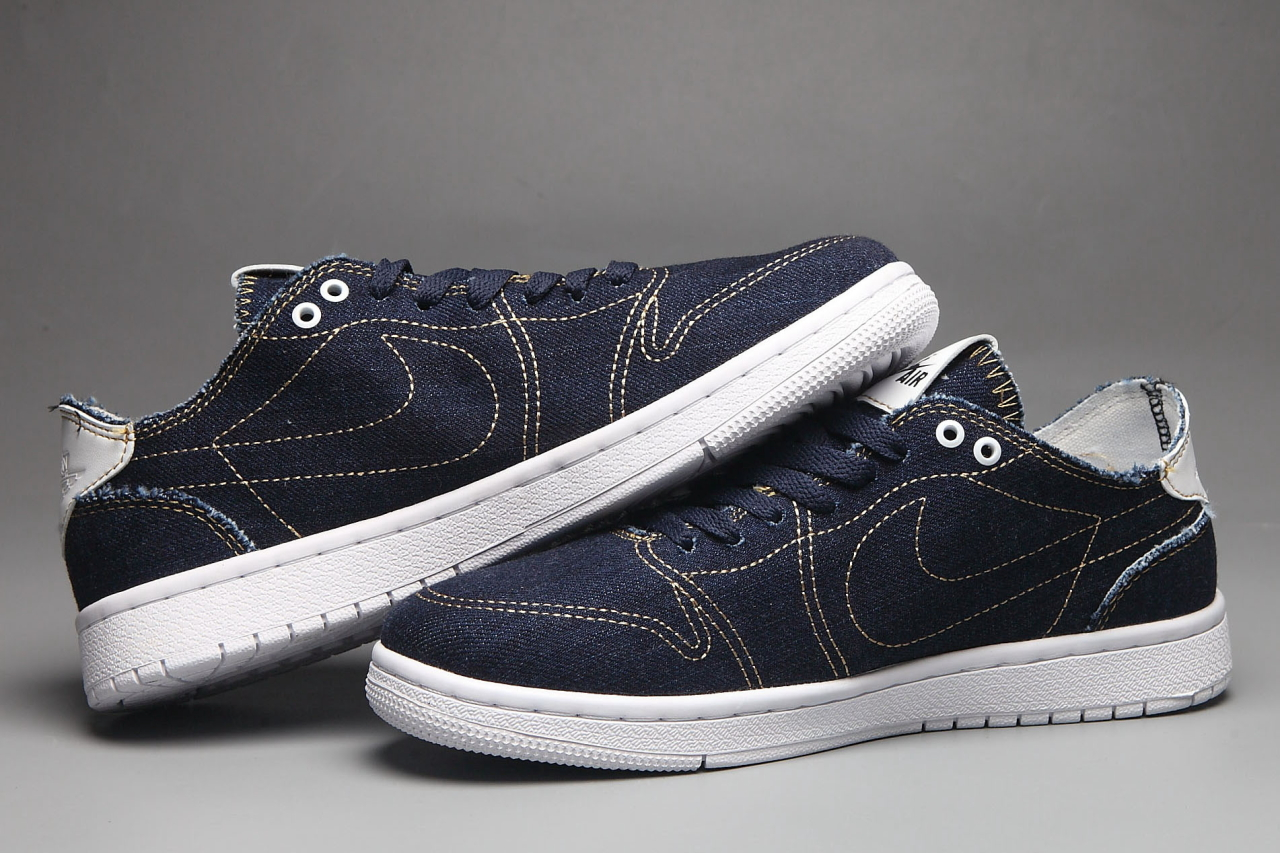 Nike Air Jordan 1 Low Canvas Blue White Shoes