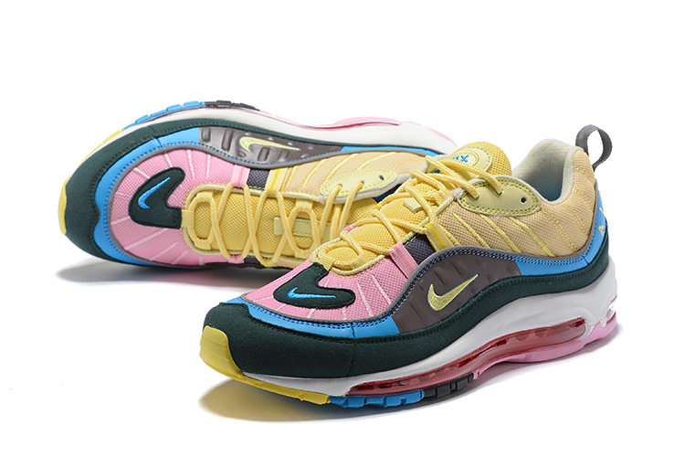Lover Nike Air Max 98 Knit Yellow Black Pink Blue Shoes